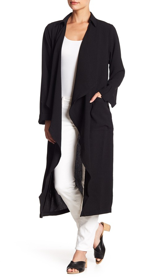 AMIE New York Womens Soft Lightweight Relaxed Fit Long Trench Duster Coat