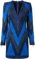 Balmain chevron panel mini dress - women - Cotton/Lamb Skin/Viscose - 38
