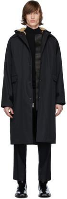 Kassl Editions Black Canvas Sheepskin Patchwork Coat