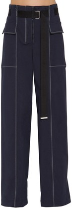 Sportmax Wide Leg Cotton Blend Pants W/ Belt
