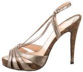 Christian Louboutin Metallic T-Strap Sandals