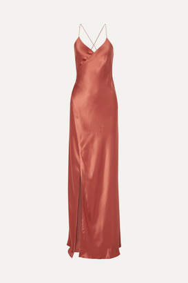 Mason by Michelle Mason Open-back Silk-satin Wrap Gown - Brick