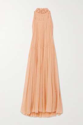 Chloé Embroidered Silk-crepon Maxi Dress - Pink