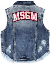 MSGM Logo Patch Stretch Cotton Denim Vest