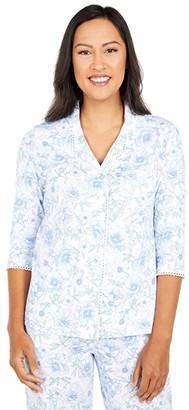 Carole Hochman Petite Soft Jersey 3/4 Sleeve Long Pajama Set (White/Blue Floral) Women's Pajama Sets