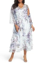 Komarov Plus Size Women's Print A-Line Dress & Shawl