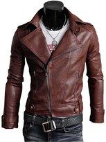 Win8Fong Trendy Men Cargo Pockets Zipper Casual PU / FAUX Leather Winter Slim Jacket
