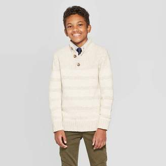 Cat & Jack Boys' Long Sleeve Pullover Sweater Off White