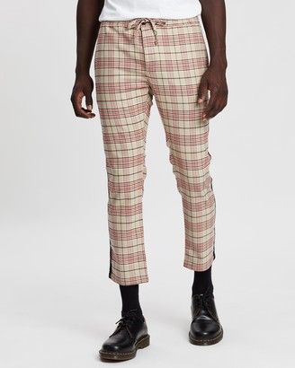 Topman Checked Side Tape Trousers