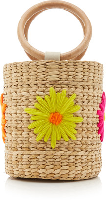 Poolside Bobbi Floral-Embroidered Straw Bucket Bag