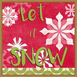 Amanti Art Lets Get Jolly VI Snow Framed Canvas Wall Art