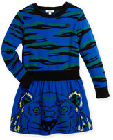 Kenzo Long-Sleeve Knit Tiger Dress, Blue, Size 4-6