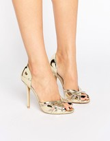 True Decadence Gold Metallic Heeled Peep Toe Sandals