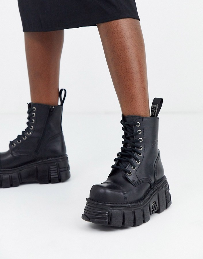 New Rock chunky leather ankle boots in black