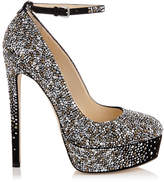 Jimmy Choo KLERISE 150 Black Suede Platform Pumps with Hotfixed Crystals