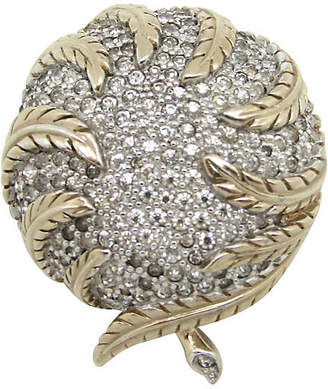 One Kings Lane Vintage Jomaz Domed Leaf Brooch - Thanks for the Memories - gold/clear
