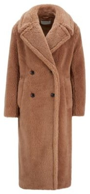 HUGO BOSS Double-breasted teddy coat with side pockets
