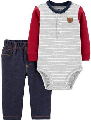 Carter's Baby Boy 2-Piece Bear Henley Bodysuit & Pants Set