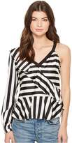 Nicole Miller Getaway Stripe Simone One-Shoulder Top Women's Clothing