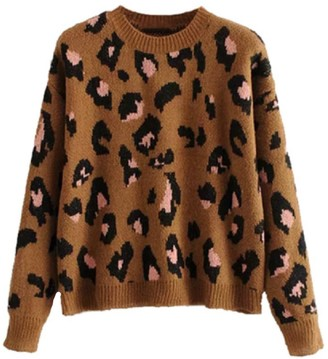 Goodnight Macaroon 'Zur' Leopard Print Knitted Sweater (2 Colors)
