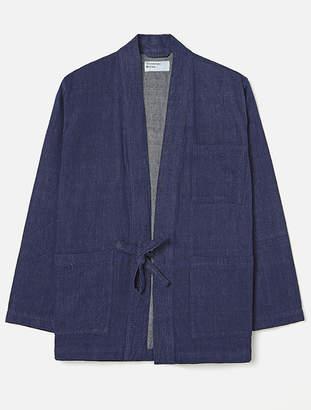 Universal Works Tie Front Jacket In Indigo Handloom Denim - X-Small