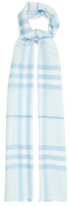 Burberry Giant Check Wool-blend Gauze Scarf - Blue