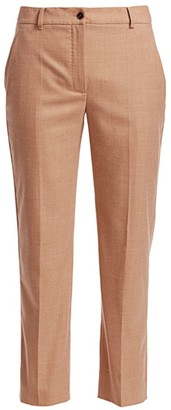 Agnona Wool Flannel Straight-Leg Ankle Pants
