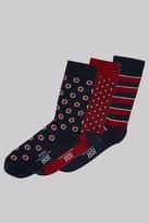 Moss Bros Red & Navy 3 Pack Socks
