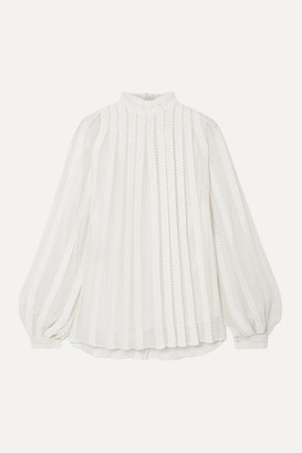 Derek Lam Embroidered Cotton And Silk-blend Georgette Blouse - Ivory