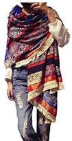 Aoli's Fashion Women's Boho Bohemian Soft Blanket Oversized Fringed Scarf Wraps Shawl Sheer Gift