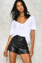 Nasty Gal nastygal Lace Up Faux Leather Hotpant