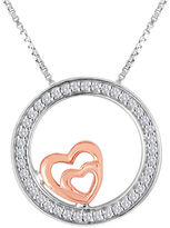 JCPenney FINE JEWELRY ForeverMine 1/10 CT. T.W. Diamond Two-Tone Circle Double-Heart Pendant Necklace