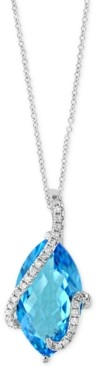 Effy Ocean Bleu by Blue Topaz (7-1/10 ct. t.w.) and Diamond (1/8 ct. t.w.) Pendant Necklace in 14k White Gold