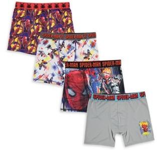 Spiderman Spider-Man, Boys Underwear, 4 Pack Athletic Boxer Briefs (Little Boys & Big Boys)