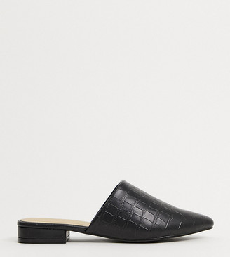 Truffle Collection wide fit woven flat mules in black