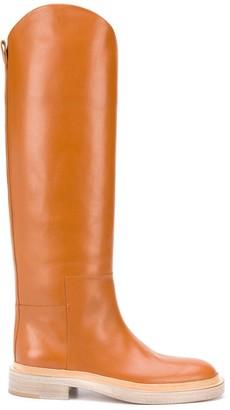 Jil Sander Asymmetric-Edge Knee-Length Boots