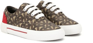 BURBERRY KIDS Monogram Lace-Up Sneakers