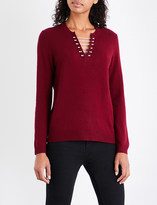 The Kooples Pierced wool and cashmere-blend jumper