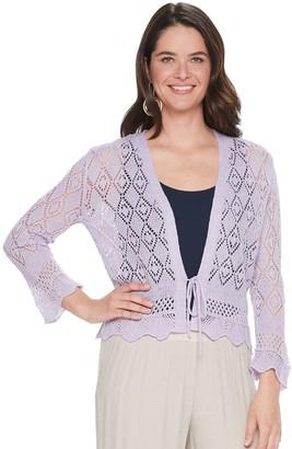Nina Leonard Women's Crochet Tie-Front Bolero