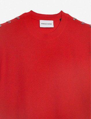 The Kooples Sport Ring-detail short-sleeved cotton-blend jumper
