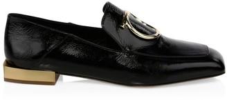 Salvatore Ferragamo Lana Square-Toe Leather Loafers
