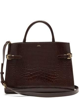 A.P.C. Farrah Crocodile-embossed Leather Tote Bag - Womens - Brown