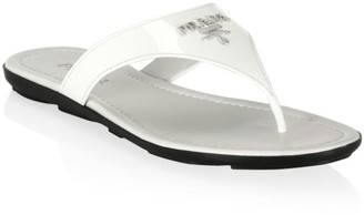 Prada Logo Patent Leather Thong Sandals