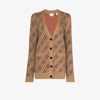 Burberry Coralie checked intarsia-knit cardigan