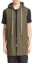 Rick Owens Men's Hooded Sleeveless Canvas Jacket