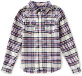 Miss Me Girls Big Girls 7-16 Long-Sleeve Embroidered Plaid Woven Shirt