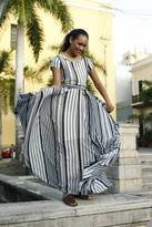 Shabby Apple Zebra Maxi Dress Navy & White