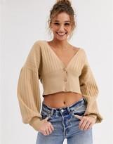 Asos Design DESIGN constrast fine knit rib cardigan
