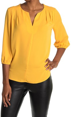 Pleione Split Neck 3/4 Sleeve Pleated Tunic Top