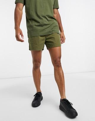 Selected drawstring waist short in khaki
